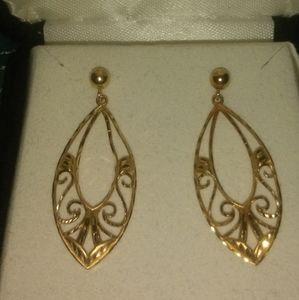 MA14K 585 yellow gold teardrop earrings
